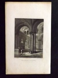 Winkles 1838 Antique Print. Chichester Cathedral, View in the Presbytery